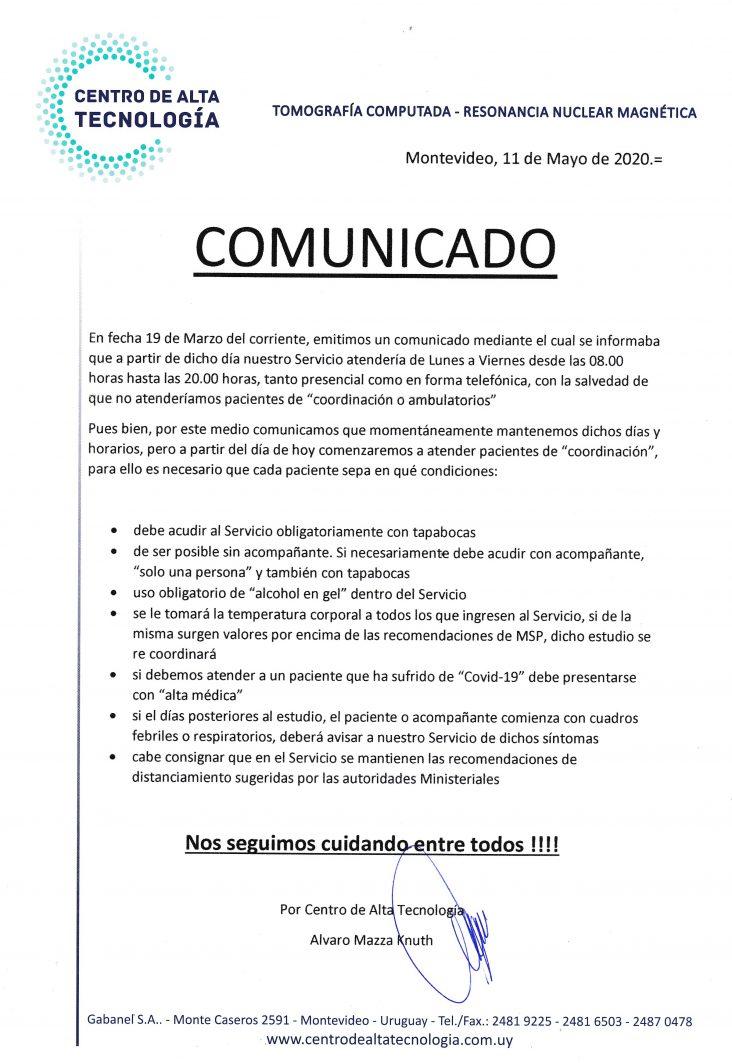 Comunicado - Centro de Alta Tecnología