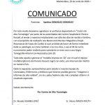 Comunicado Paciente Santino González