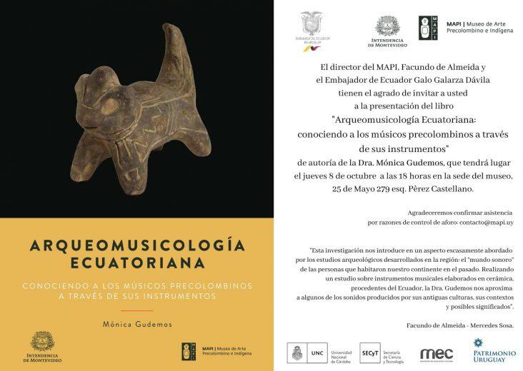 """Invitación al lanzamiento del libro """"Arqueomusicología Ecuatoriana"""""""